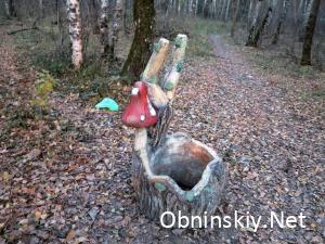 В Гурьяновском лесу фигурка. А на заднем фоне мусор. Мусора в лесу очень много.