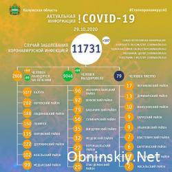 Количество заболевших коронавирусом в Калужской области 29.10.2020