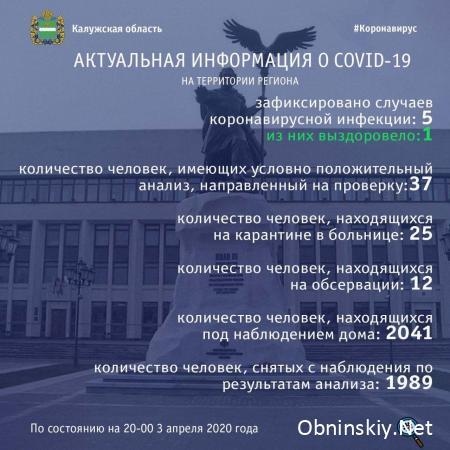 Количество заболевших коронавирусом в Калужской области 03.04.2020