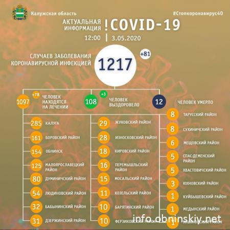 Количество заболевших коронавирусом в Калужской области 03.05.2020