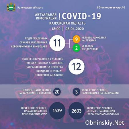 Количество заболевших коронавирусом в Калужской области 08.04.2020