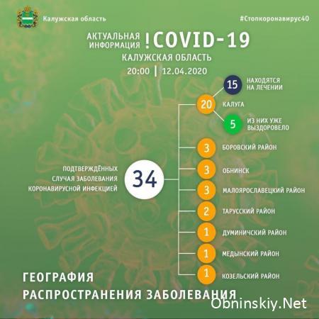 Количество заболевших коронавирусом в Калужской области 12.04.2020