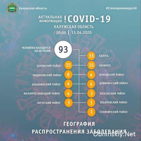 Количество заболевших коронавирусом в Калужской области 15.04.2020
