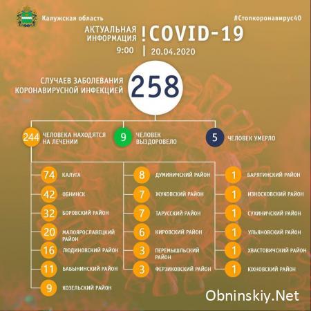 Количество заболевших коронавирусом в Калужской области 20.04.2020