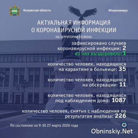 Количество заболевших коронавирусом в Калужской области 27.03.2020