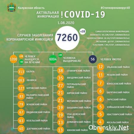 Количество заболевших коронавирусом в Калужской области 01.08.2020