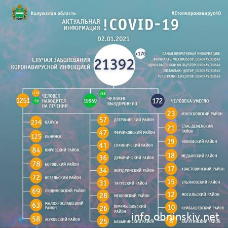 Количество заболевших коронавирусом в Калужской области 02.01.2021