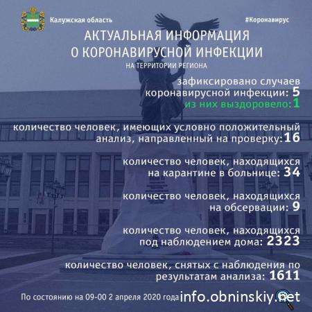 Количество заболевших коронавирусом в Калужской области 02.04.2020