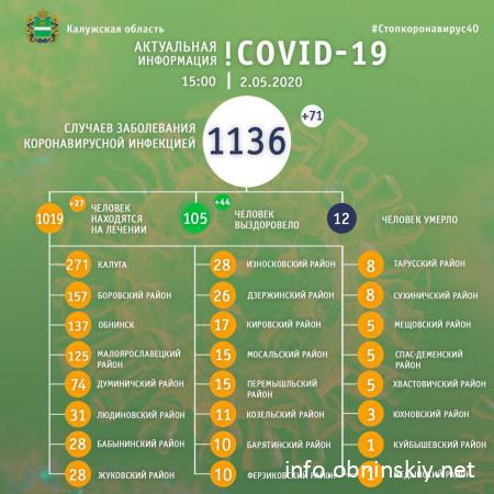 Количество заболевших коронавирусом в Калужской области 02.05.2020