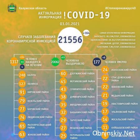 Количество заболевших коронавирусом в Калужской области 03.01.2021
