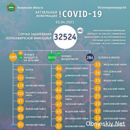 Количество заболевших коронавирусом в Калужской области 03.04.2021