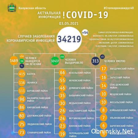 Количество заболевших коронавирусом в Калужской области 03.05.2021