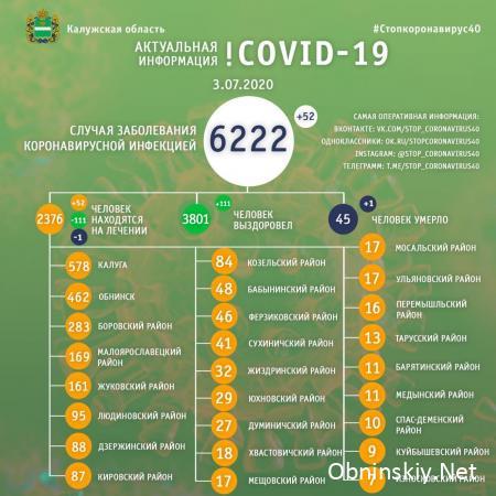 Количество заболевших коронавирусом в Калужской области 03.07.2020
