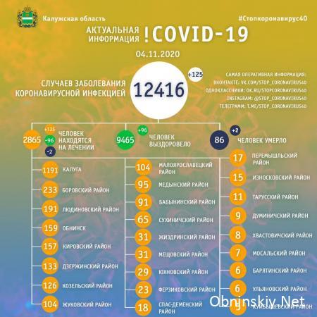 Количество заболевших коронавирусом в Калужской области 04.11.2020