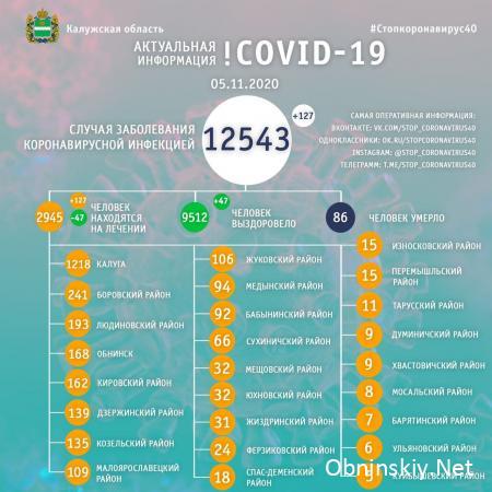 Количество заболевших коронавирусом в Калужской области 05.11.2020