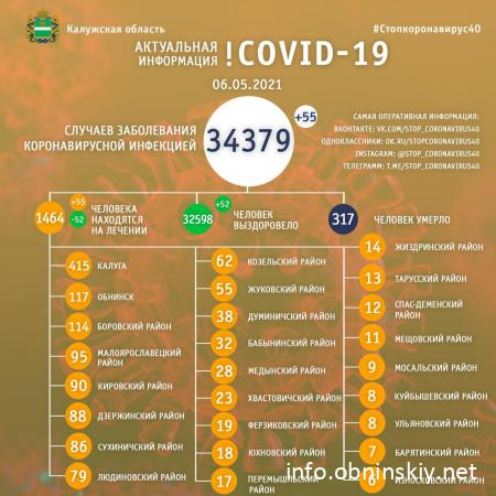 Количество заболевших коронавирусом в Калужской области 06.05.2021