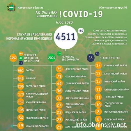 Количество заболевших коронавирусом в Калужской области 06.06.2020