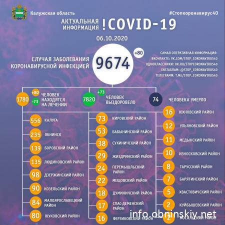Количество заболевших коронавирусом в Калужской области 06.10.2020
