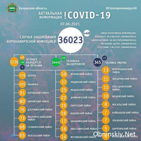 Количество заболевших коронавирусом в Калужской области 07.06.2021