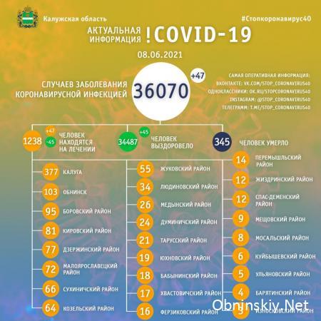 Количество заболевших коронавирусом в Калужской области 08.06.2021