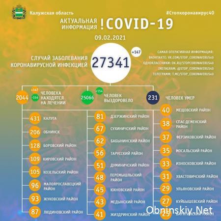 Количество заболевших коронавирусом в Калужской области 09.02.2021