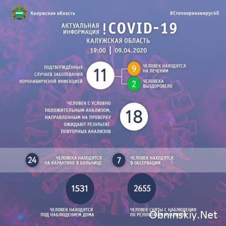 Количество заболевших коронавирусом в Калужской области 09.04.2020