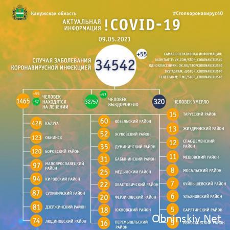 Количество заболевших коронавирусом в Калужской области 09.05.2021