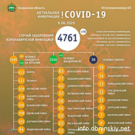 Количество заболевших коронавирусом в Калужской области 09.06.2020