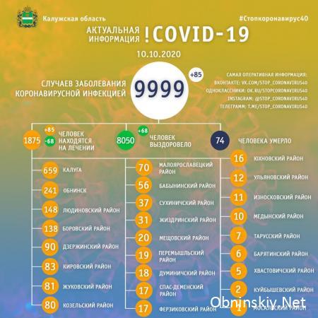 Количество заболевших коронавирусом в Калужской области 10.10.2020