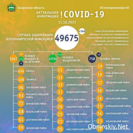 Количество заболевших коронавирусом в Калужской области 11.10.2021