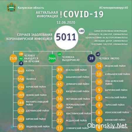 Количество заболевших коронавирусом в Калужской области 12.06.2020