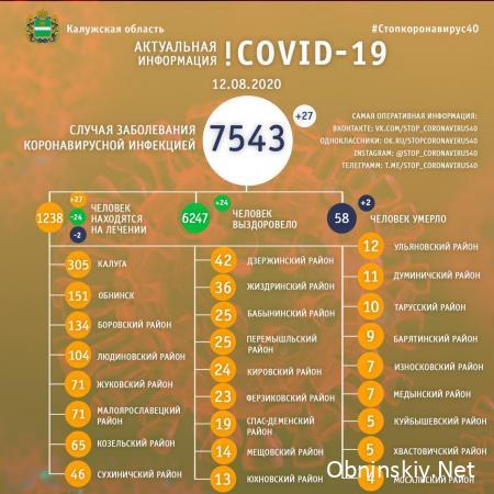 Количество заболевших коронавирусом в Калужской области 12.08.2020