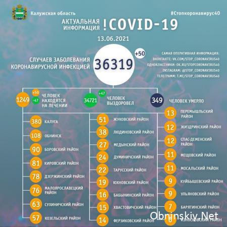 Количество заболевших коронавирусом в Калужской области 13.06.2021