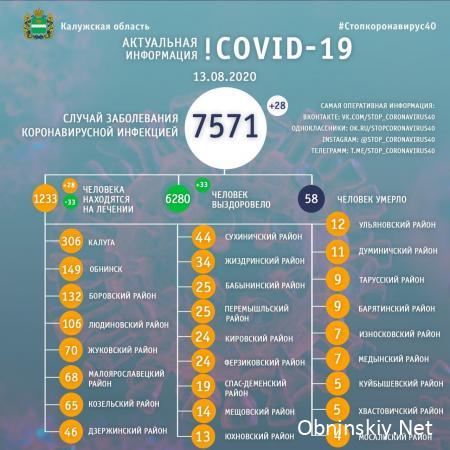 Количество заболевших коронавирусом в Калужской области 13.08.2020