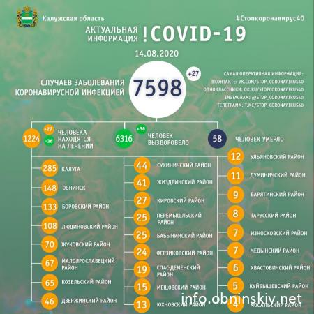 Количество заболевших коронавирусом в Калужской области 14.08.2020