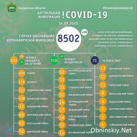 Количество заболевших коронавирусом в Калужской области 14.09.2020