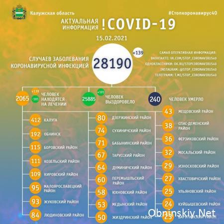 Количество заболевших коронавирусом в Калужской области 15.02.2021