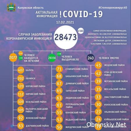 Количество заболевших коронавирусом в Калужской области 17.02.2021