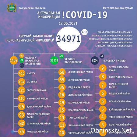 Количество заболевших коронавирусом в Калужской области 17.05.2021