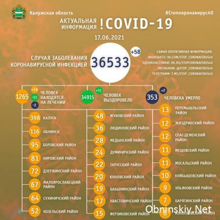 Количество заболевших коронавирусом в Калужской области 17.06.2021
