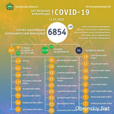 Количество заболевших коронавирусом в Калужской области 17.07.2020