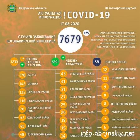 Количество заболевших коронавирусом в Калужской области 17.08.2020