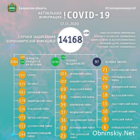 Количество заболевших коронавирусом в Калужской области 17.11.2020