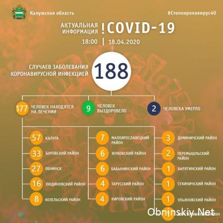 Количество заболевших коронавирусом в Калужской области 18.04.2020