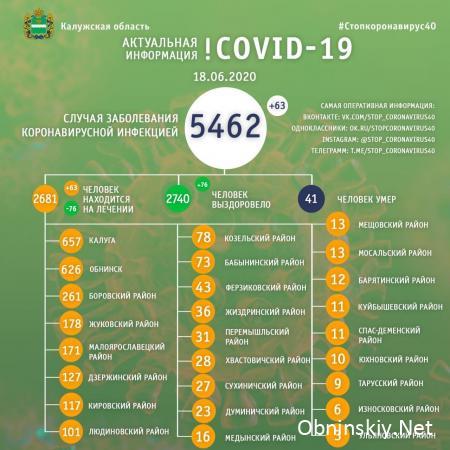Количество заболевших коронавирусом в Калужской области 18.06.2020