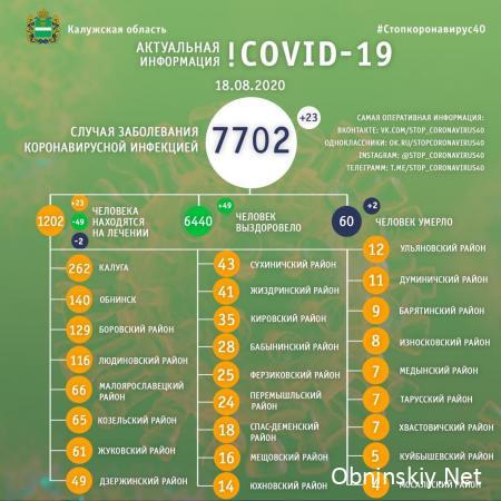 Количество заболевших коронавирусом в Калужской области 18.08.2020