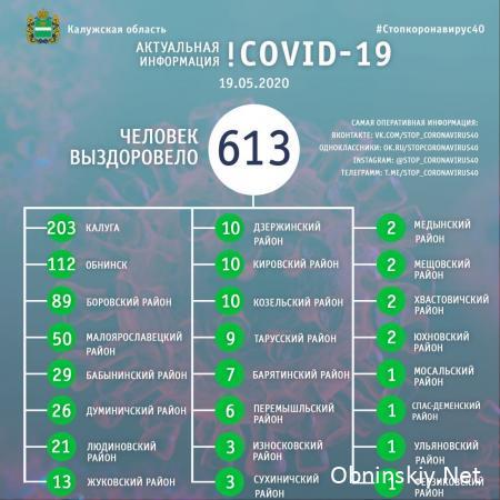 Количество вылечившихся от коронавируса в Калужской области 19.05.2020