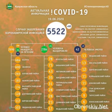 Количество заболевших коронавирусом в Калужской области 19.06.2020