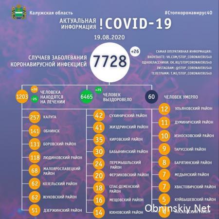 Количество заболевших коронавирусом в Калужской области 19.08.2020