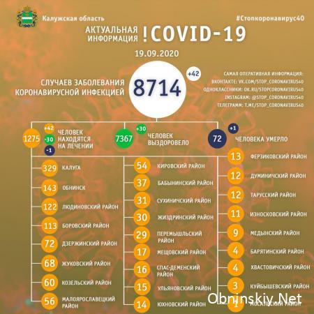 Количество заболевших коронавирусом в Калужской области 19.09.2020